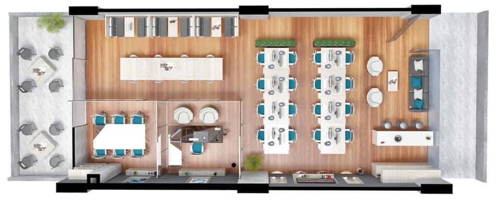 Plano de planta oficina tipo 3 Centro empresarial Potenza
