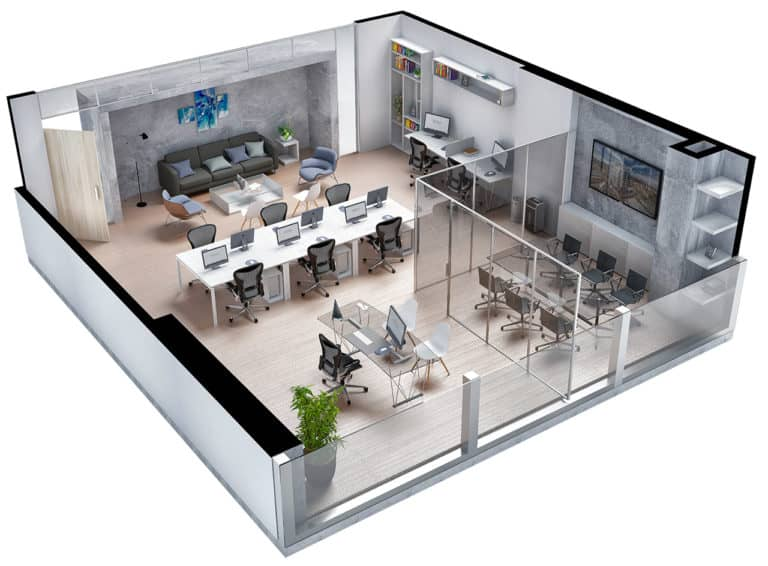 Plano isometrico oficina tipo 2 Centro empresarial Potenza